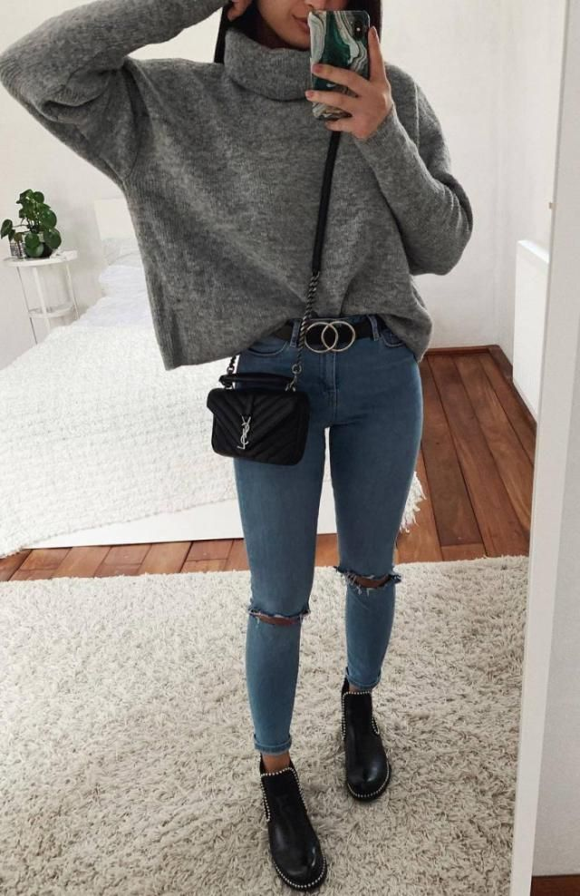 Mid Calf Chelsea Boots With Studs Black New in ZAFUL! Top black boots and belt , Buy here ,ZAFUL is the best!        …