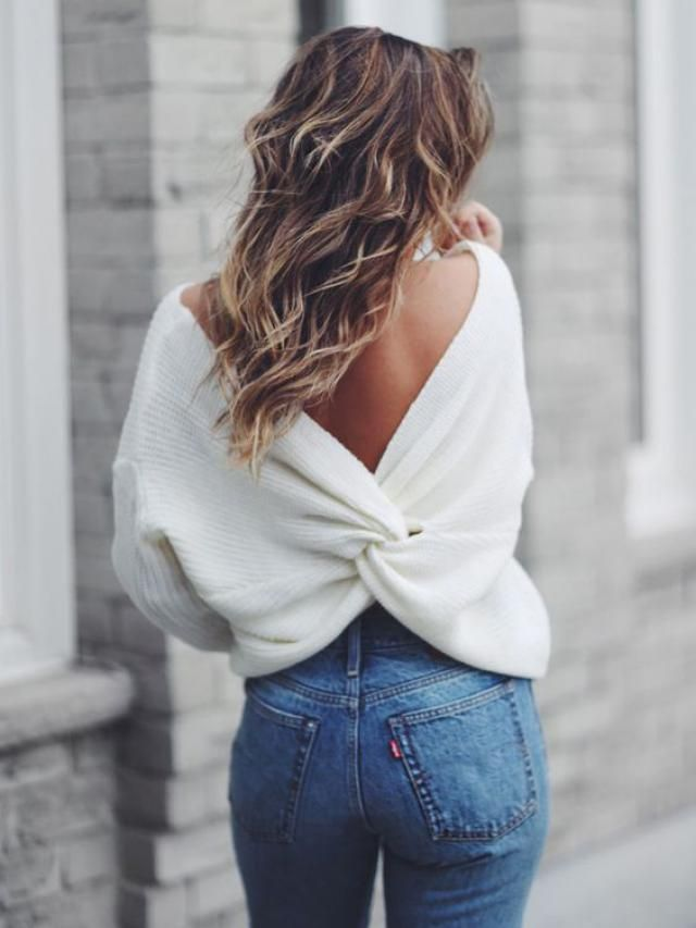 V Neck Twisted Back Sweater White