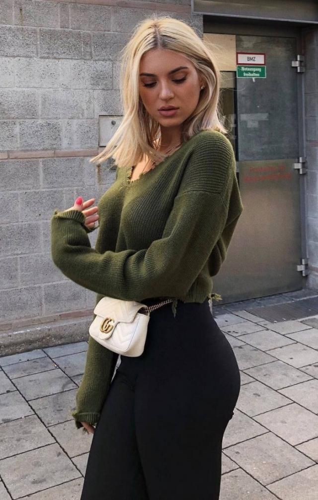 V Neck Ripped Sweater Army Green