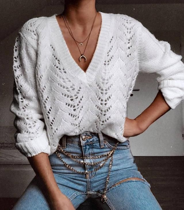 Cable Knit Chunky Sweater White