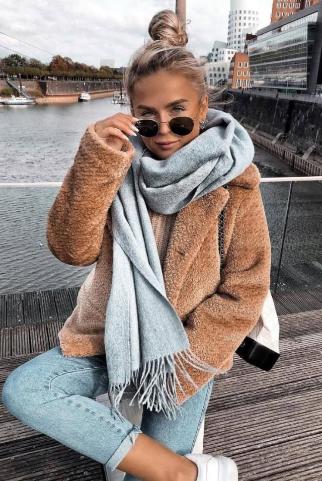 Fluffy Faux Fur Winter Coat  Brown