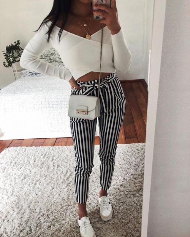 Stripe Pattern Elastic High Waist Pants Black
