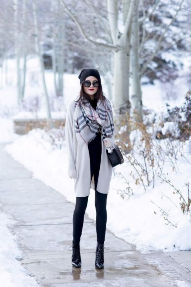 Checked Wrap Shawl Blanket Winter Scarf 