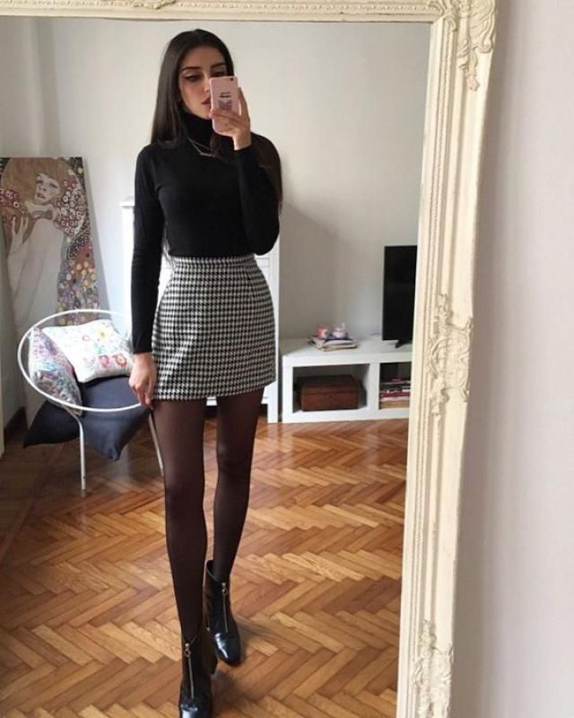 Tweed Mini Plaid Skirt 