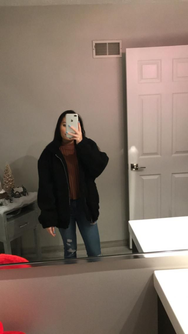 this teddy jacket is so warm, love the black it goes with everything. it looks weird zipped up