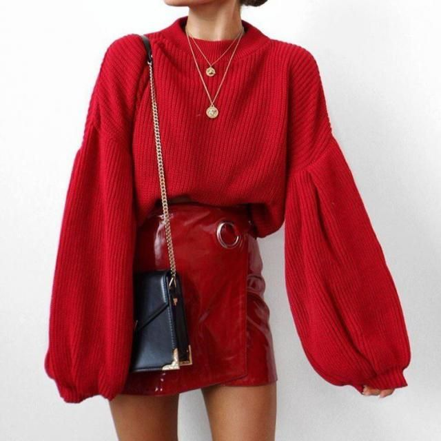 The bolder the better right? try this gorgeous red sweater with also red faux leather skirt for an eye-catching look   …