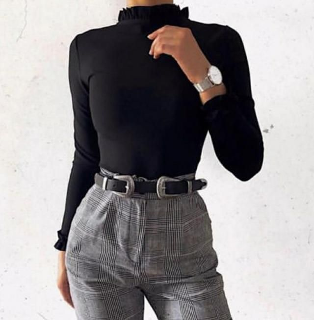 For another work outfit, coordinate a black turtleneck sweater and plaid pants with your double pin buckle belt