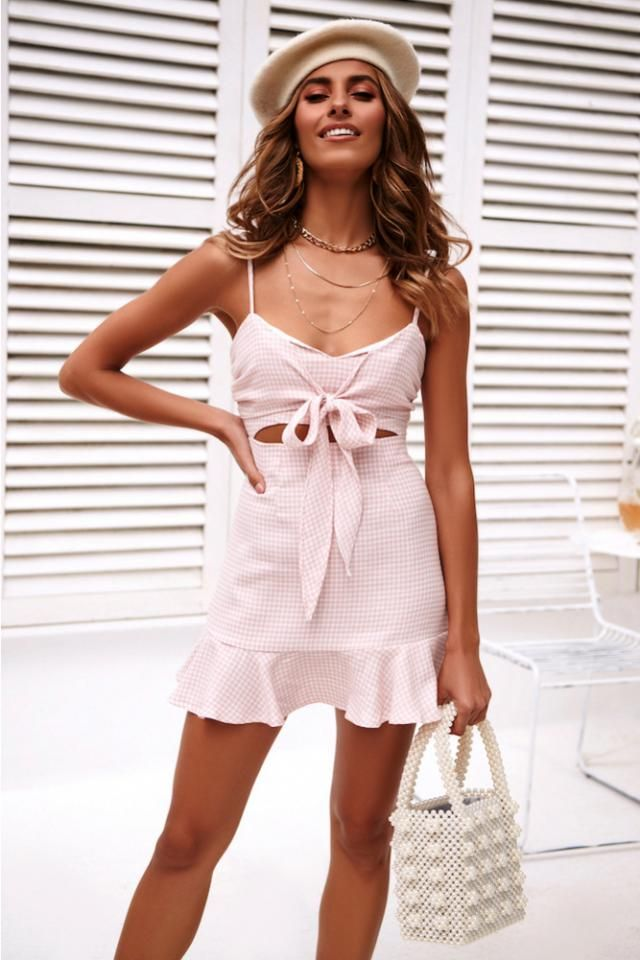 ZAFUL Bowknot Cami Dress  Pink