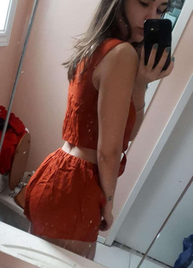 it's cute just like in the photo. The shorts are a little shorter than I expected, falls about half an inch under my b…