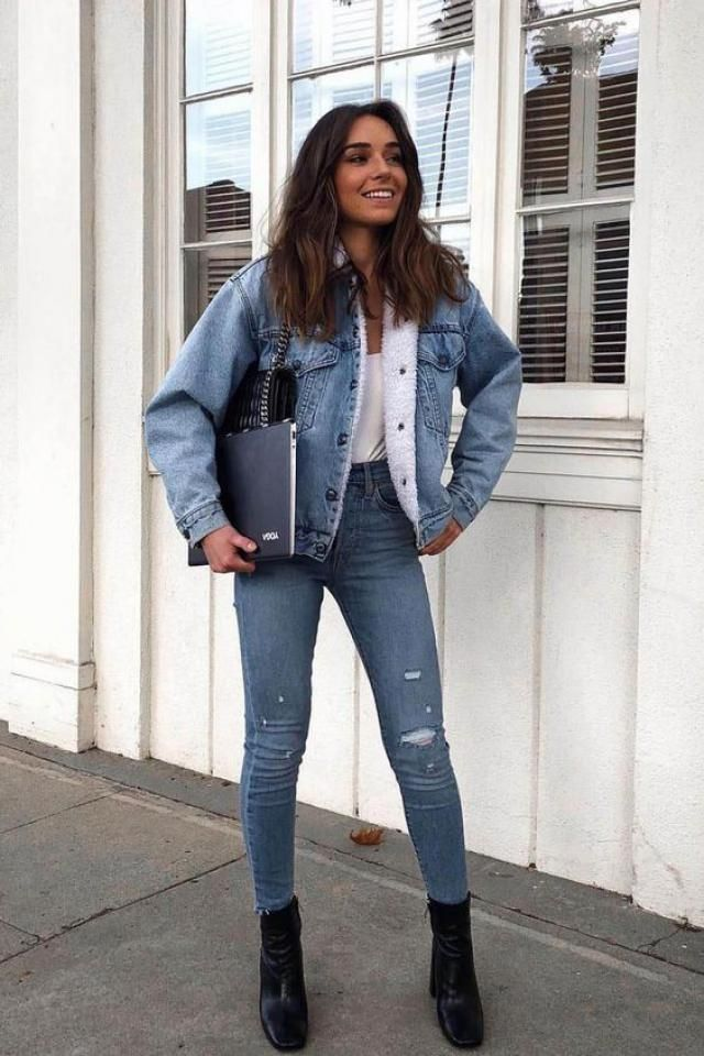 ZAFUL  Winter Faux Fur Lined Denim Jacket