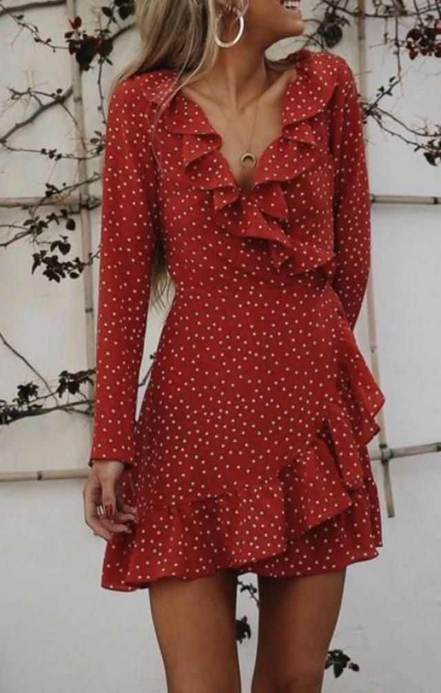Zaful Star Ruffle Wrap Mini Dress Red