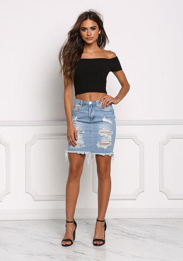 Off Shoulder Fitted Crop Tee  Black