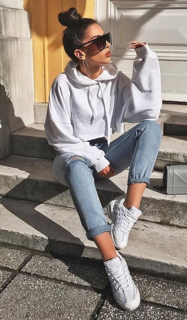 ZAFUL White Hoodie  Hot jeans with hoodie and  sneakers , BUY HERE, Excellent quality, low price, Only in ZAFUL!