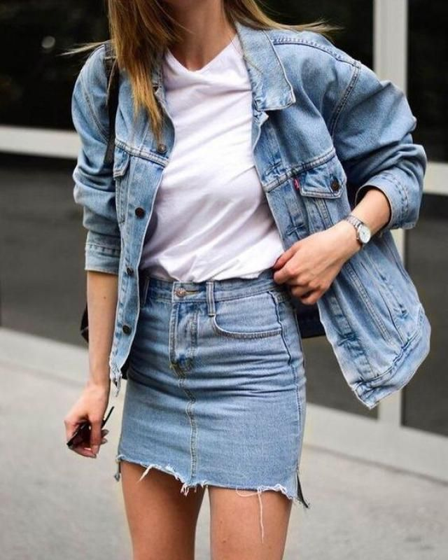 ZAFUL  Denim Embroidered Jacket With Pockets  Hot denim jacket with tee ,  and  denim skirt , BUY HERE, Excellent qu…