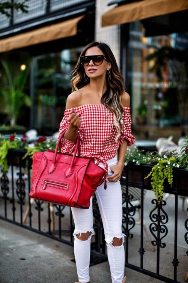 ZAFUL Off Shoulder Plaid Blouse