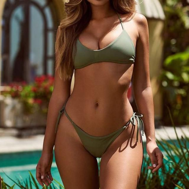 ZAFUL  Tied Low Waisted Bikini Set Green