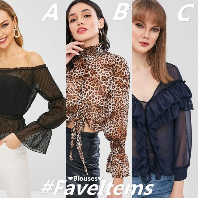 Today we have 3 causal yet also sexy blouses for you! So which piece do you prefer? A the classic black one, B the leop…