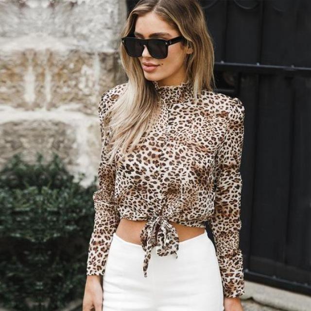 ZAFUL Semi Sheer Leopard Print High Collar Blouse      Wonderful leopard print blouse and  white jeans, BUY HERE, …
