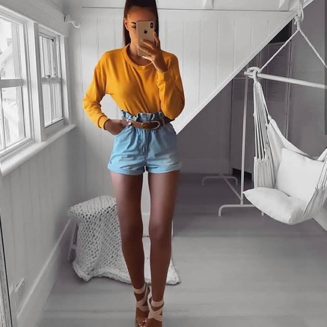 Keep it cute and comfy with this adorable yellow top and denim shorts