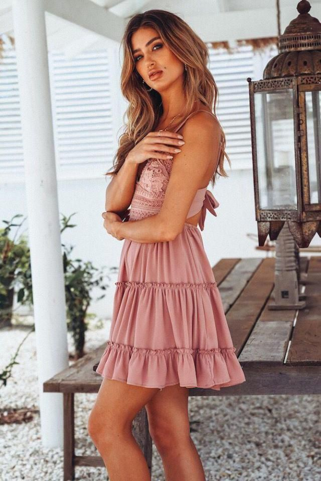 ZAFUL Crochet Panel Cami Flare Dress Pink Hot cami dress pink for spring and warm summer. Buy Here! Great discounts ,…