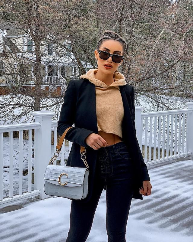 I love this outfit its unique and stylish crop hoodie with black blazer looks so cool