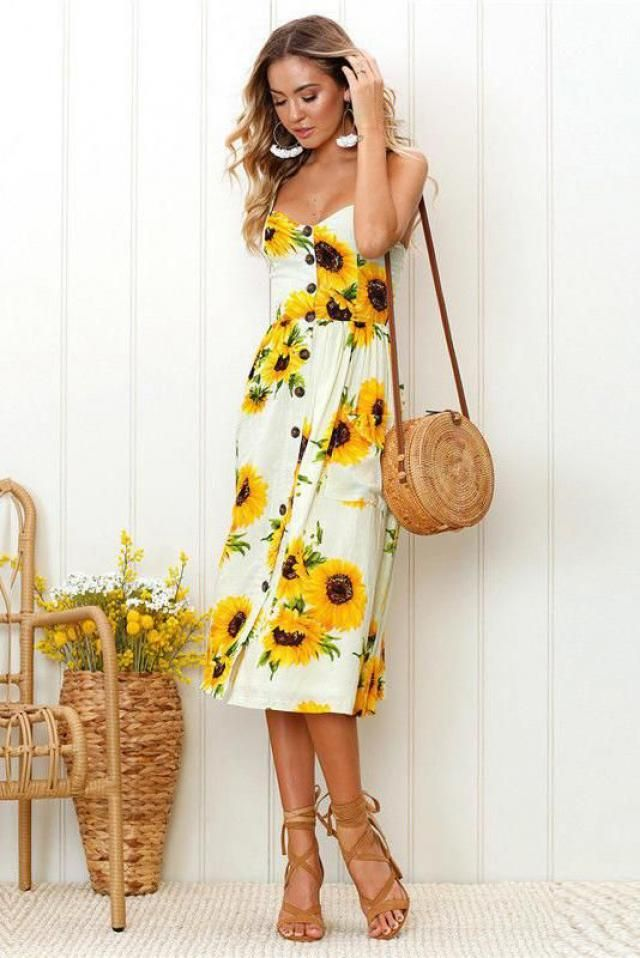 ZAFUL Button Sunflower Print Midi Dress