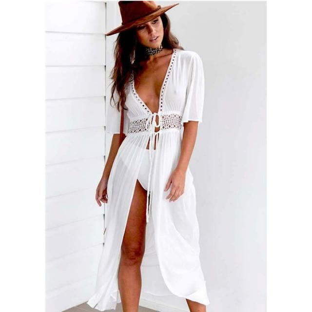 ZAFUL Crochet Tie Front Longline Beach Cover Up White
