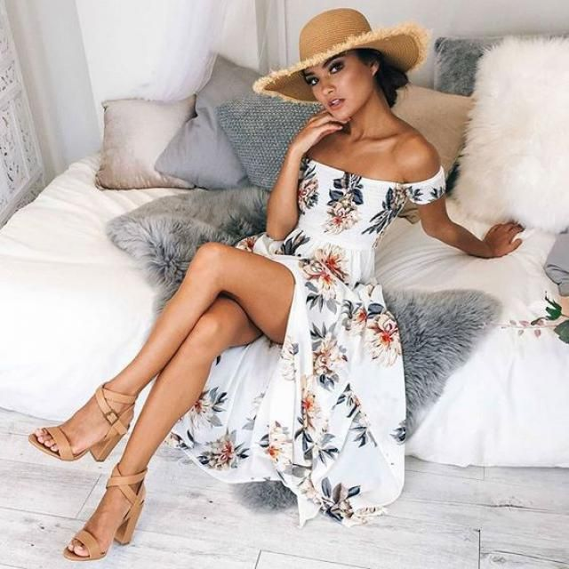 ZAFUL  Bandeau Flower Print Slit Vacation Dress