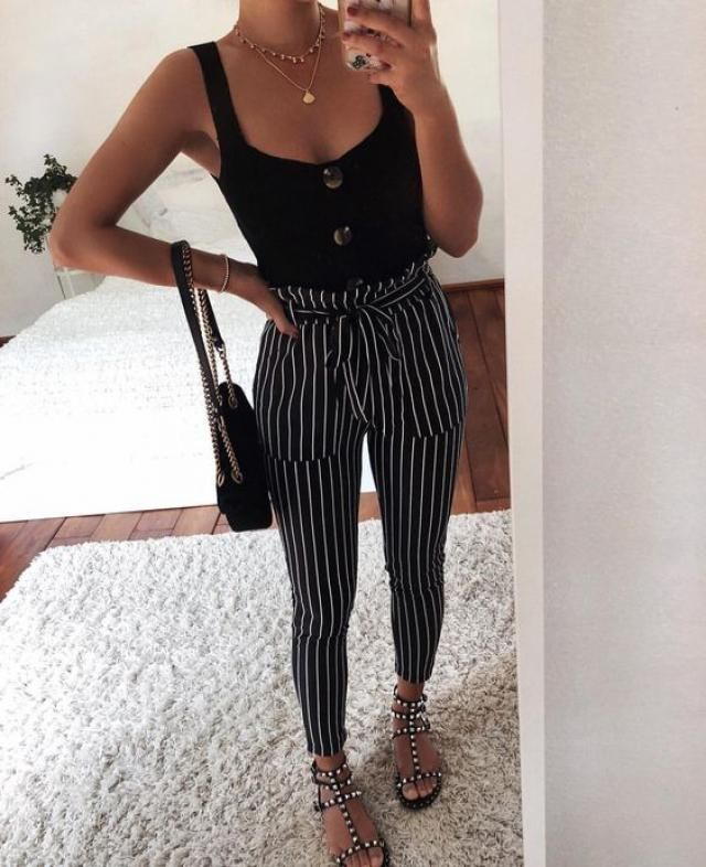 Zippered Striped Pants - Black Get it now, top trends here, women fashion style, zaful fashion, spring new trends, onl…