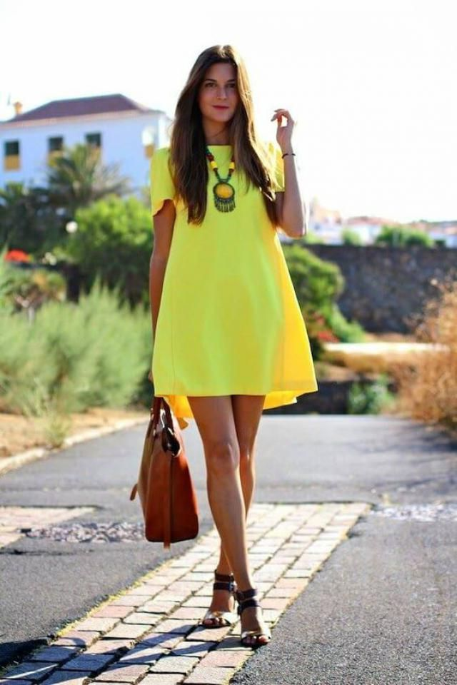 A yellow dress and a high heel will be nice for sunny days.