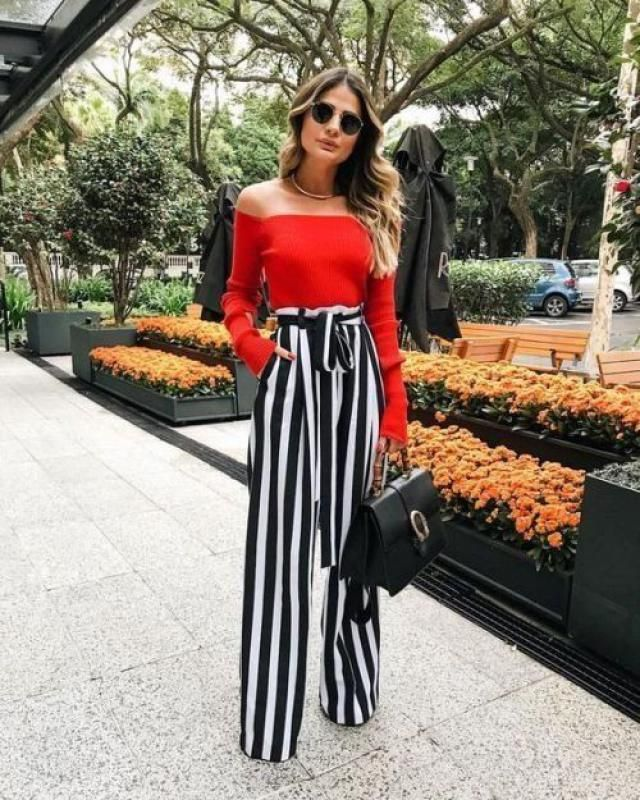 A special combination of striped pants with a red top will be something that will give you a bold look. Zaful pieces …