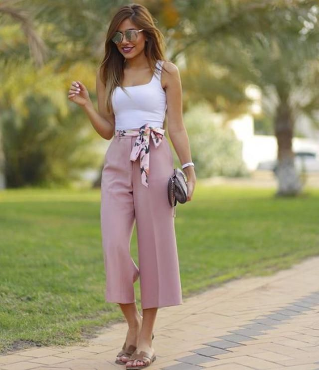 Knot  Wide Leg Pants And Striped Pants