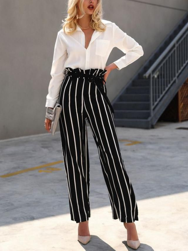 Striped Wide Leg Gaucho Pants