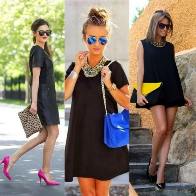 Black dress special jewelry and blue sunglasses look back in the spring