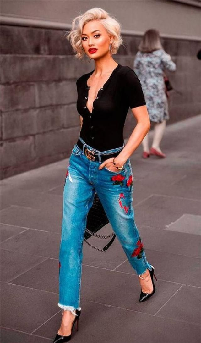Jeans never come out of fashion, Embroidered jeans will wear this year, combine them with sexy shirts that are always i…