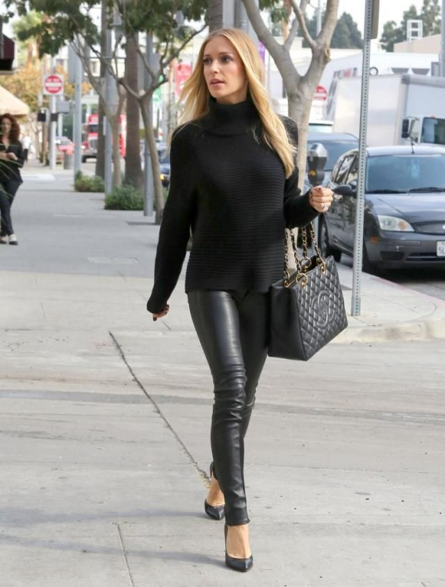 Leather pants for women are always in fashion, wear them with light blouse and shirts, look trendy