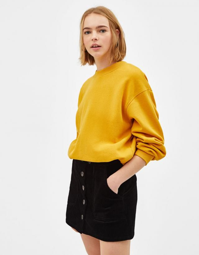 A yellow sweater is ideal for spring, You can wear it in multiple ways, denim skirts, pants, shorts a perfect combina…