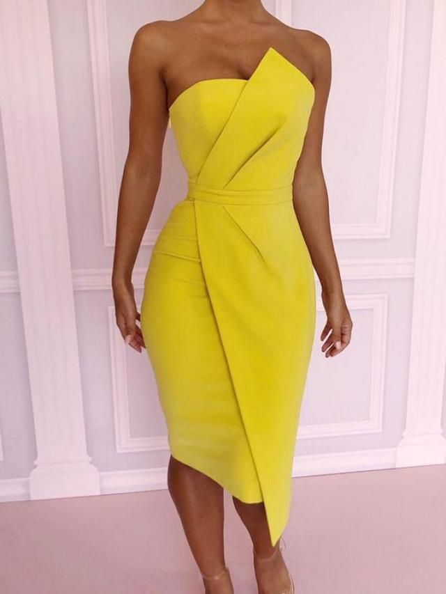Modern yellow dress, very sweet, suitable for special occasions