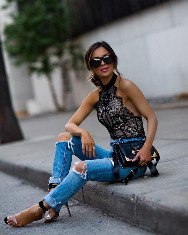 Frayed Destroyed Skinny Jeans