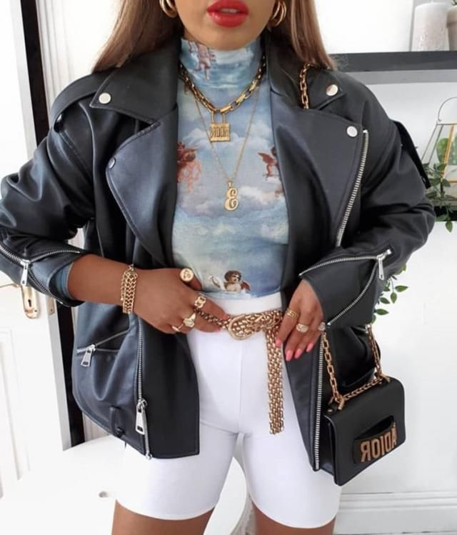 Make an impression with this mesh printed tee with this beautiful leather jacket and white shorts