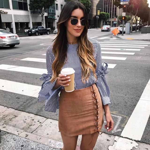 This lace up skirt is so chic and fancy you can wear it with anything, but it looks gorgeous with the striped blouse   …