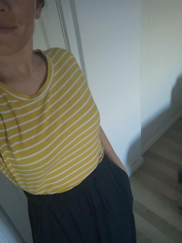 Super cute, but a little short. Love it with high waist skirts