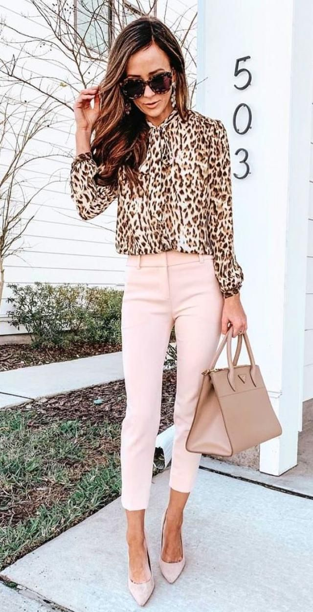 Leopard Print High Collar Blouse 