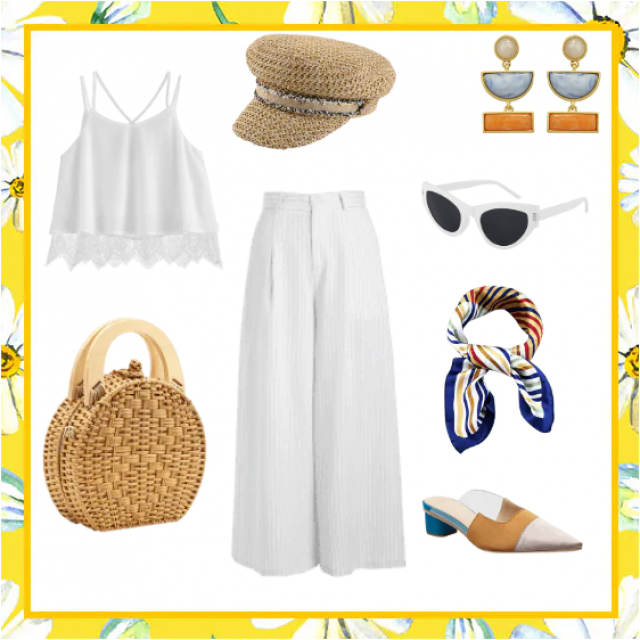 Crispy fresh outfit ideal for cruising or for a sunny outing day