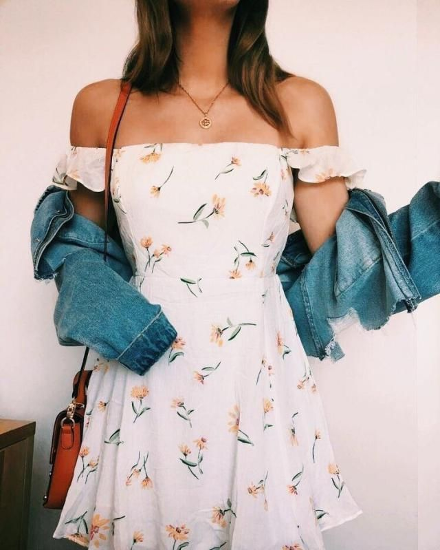 Keep it cute and fresh this summer with floral smocked off shoulder mini dress and casual denim jacket