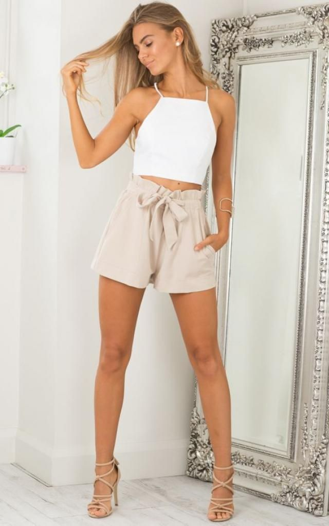 Belted Ruffled High Waisted Shorts  A beautiful belted shorts and tank top white. Come to Zaful, BUY HERE! Beautiful …