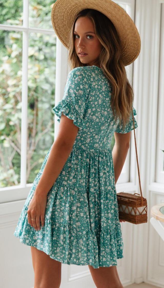 ZAFUL Ruffles Half Buttoned Floral Mini Dress  A perfect summer dress,floral mini dress.Comfortable and of fantastic, …