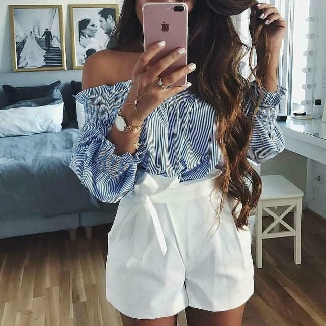 You can not go wrong with striped off shoulder top and white shorts it is perfect for summer