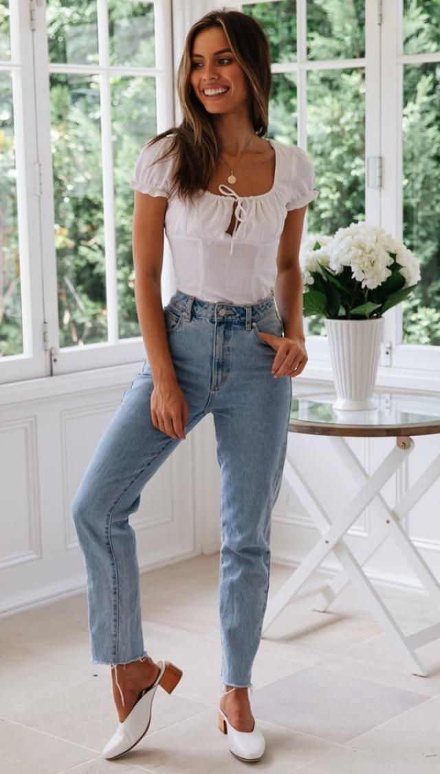 Smocked Back Buttoned Crop Blouse 