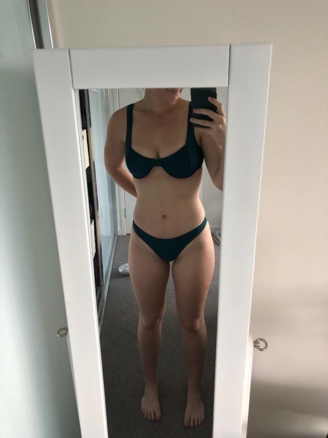Bottoms are cheeky but really nice fitting, very true to size but I'm a aus10E and the top's cups are alittle small . …